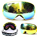 Evangel Unisex Outdoor Windproof Dustproof Ski Goggles Double Lens Anti-fog Big Spherical Professional Ski Glasses Mirror Multicolor Snow Goggles …