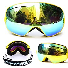 Evangel Unisex Outdoor Windproof Dustproof Ski Goggles Double Lens Anti-fog Big Spherical Professional Ski Glasses Mirror Multicolor Snow Goggles …
