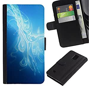 Be Good Phone Accessory // Caso del tirón Billetera de Cuero Titular de la tarjeta Carcasa Funda de Protección para Samsung Galaxy Note 4 SM-N910 // Mist Smoke Blue Light Clean Bright