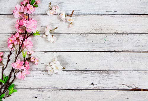 (Baocicco 7x5ft Valentine's Day Backdrop Countryside Rustic White Wood Plank with Wood Texture Blooming Border Pink White Tree Branch Flower Petals Background Children Baby Adults Portraits Backdrop)