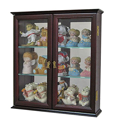 Cherry Wall Curio Cabinet Display Case Shadow Box Home Accents For Figurines