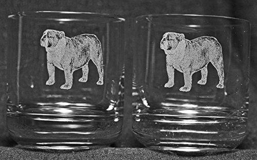 Muddy Creek Wine - Muddy Creek Reflection English Bulldog Laser Etched Double Old Fashioned Whiskey Glass Set (2, DOF)