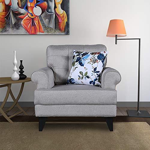HomeTown Paddington Plus Fabric Single Seater Sofa in Beige Color