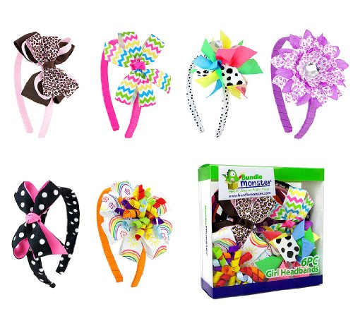 Bundle Monster Interchangeable Mix+Match 3in1 Ribbon Flowers Bows Baby Hair Clips Headbands Combo-Set 1, Fun and (Girl Monsters)