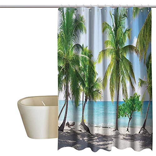 Beach Home Decor Shower Curtain Palm Leaves and Catalina Island Seashore Coastal Panoramic Picture Print Western Shower Curtains W36 x L72 Blue Ivory Green