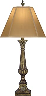 product image for Stiffel TL-6717-ATS One Light Table Lamp, Amber Tortoise Shell Finish with Tan Silk Shantung Shade