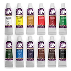 Oil Paint Set - 12ml x 12 Tubes - Artists Quality Art Paints - Oil-Based Color - Professional Painting Supplies - MyArtscape