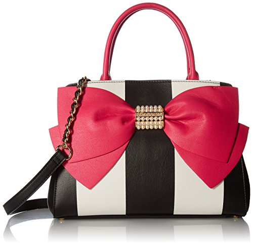Betsey Johnson Pearl of a Girl Bow Satchel, Stripe Fuchsia by Betsey Johnson