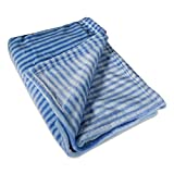DII Super Soft Plush Flannel Fleece Stripe Blanket Throw for Chair, Couch, Picnic, Camping, Beach, Everyday Use, 50 x 60 - Blue