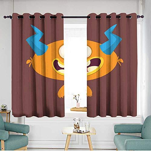 Sillgt Doorway Curtains Funny Cartoon Monster Halloween Vector Illustration Energy Efficient, Room Darkening W 55