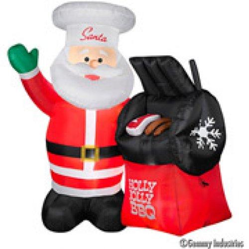 - CHRISTMAS 5INFLATABLE .5 FT TALL BBQ SANTA OUTDOOR HOLIDAY YARD DECR