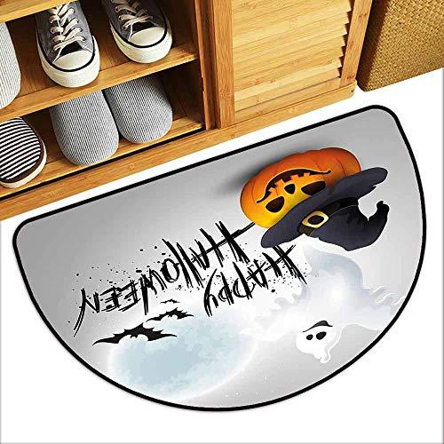 DILITECK Modern Door mat Halloween Happy Celebration Typography Stained Look Cute Ghost Pumpkin Hat Print Antifouling W30 xL18 White Black Orange]()