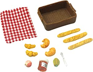 Aland 1/12 Miniature Food Doll House Toast Fruit Mini Dollhouse Kitchen Kitchen Accessories with Basket Model Toy Kids Birthday Gift B