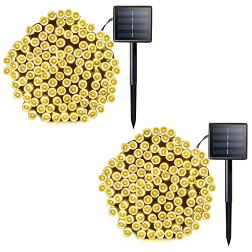 Lalapao 2 Pack Solar String Lights 72ft 22m 200 LED 8 Modes Solar Powered Outdoor Lighting Waterproof Christmas Fairy Lights for Xmas Tree Garden Homes Ambiance Wedding Lawn Party Decor (Warm White) -