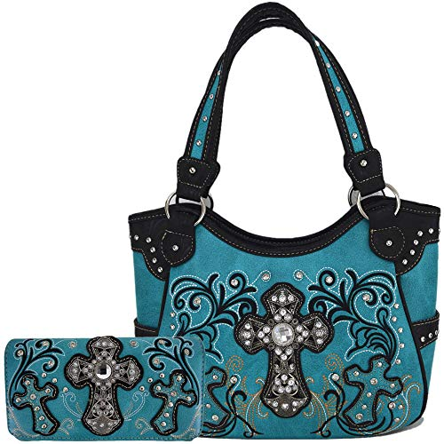 Western Style Rhinestone Cross Totes Purse Concealed Carry Handbags Women Country Shoulder Bag Wallet Set (Turquoise)