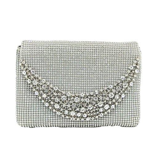 Dinner Rhinestone Clutch Diamond Evening Ladies Chain Crystal Bag Fashion Handbag Dinner Banquet Bag Bag Silver Bag wAYPwfqxI