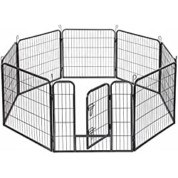 "Fur Family (8) Panel Pet Dog Playpen with Door Exercise Play Pen Kennel Foldable Cage, (24""-inch) -Black"