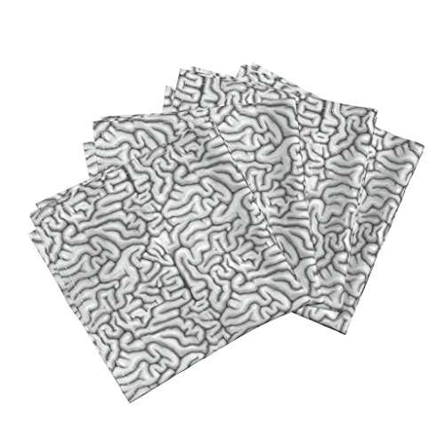 Roostery Guts Linen Cotton Dinner Napkins Black & White Brains by Sufficiency Set of 4 Cotton Dinner Napkins Made