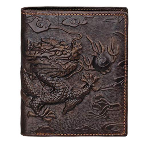 (Genuine Leather Mens Wallet Tiger Print Clutch Money Purse Card Photo Holder)