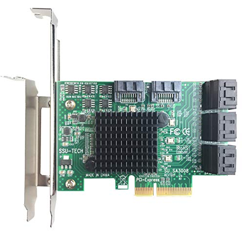glotrends PCIe 2.0 X2 to SATA III 8 Ports Adapter Card (ASM Chipset) for IPFS Mining and Adding SATA 3.0 Devices (SA3008)