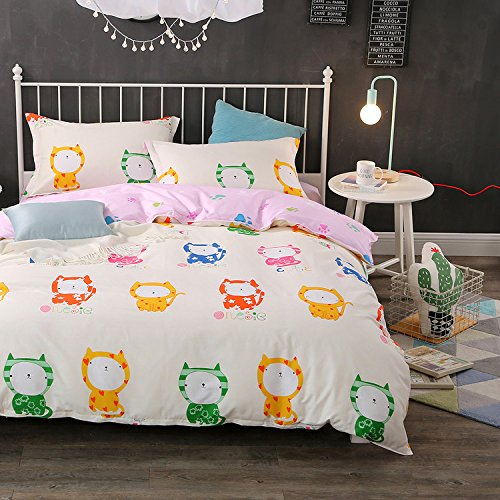 WarmGo Home Bedding Set Full/Queen Size for Kids Cute Cat Pattern Duvet Cover Sets 4 Piece Duvet Cover Set without Comforter by WarmGo