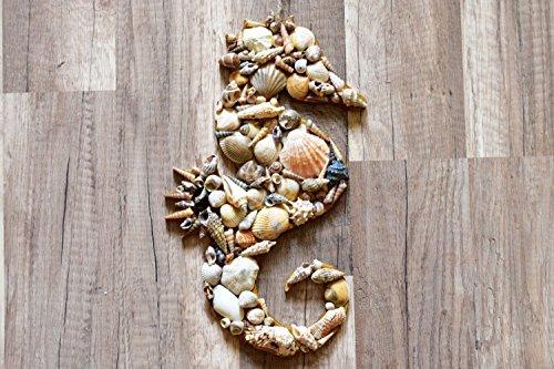 Rustic seahorse decor seashell decoration Beach house sign Nautical ornament Wood wall hanging wedding ocean Coastal sea shells Beachy Seaside seahorses by KatrinHandmadeGifts (Image #2)