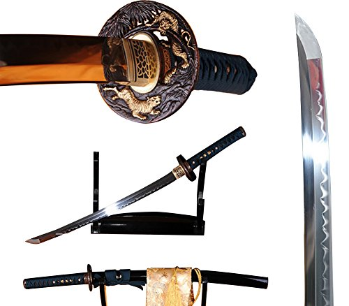 Lyuesword Handmade Japanese Sword Wakizashi Full Tang T-10 High Carbon Steel Clay Tempered Wakizashi