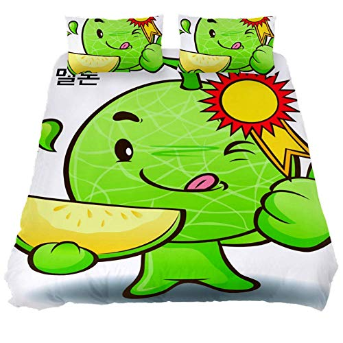 CHAYUN Duvet Cover Cute Hami Melon Queen Soft Bedding Sets Bedroom 3pcs Comforters Quilt Coverlet with Two Pillows Covers
