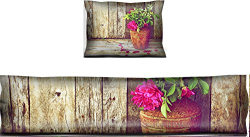 Price comparison product image Liili Mouse Wrist Rest and Keyboard Pad Set, 2pc Wrist Support Richly colored vintage style image of beautiful wild roses in a rustic vase Photo 1245791