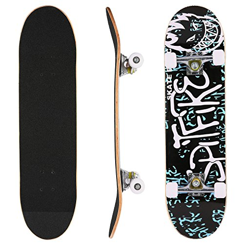 "Hikole Skateboard Complete Profession Wood Full Size Skate Board 31""x 8"", Christmas Birthday Gift for Children Boys Girls 4 Up Years Old"