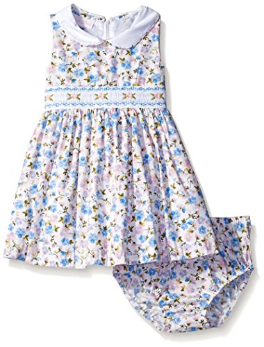 Bonnie Baby Girls' Sleeveless Floral Smocked Waist Dress with Panty, Blue, 0-3