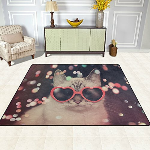 Funny Cat with Red Heart Sunglasses Washable Area Rug Soft Anti-slip Bedroom Living Room Carpet 4'10'' x - Area Sunglasses Sale My For