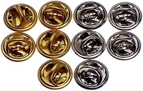 ピンバッジのキャッチ留め具バタフライ型クラッチ金銀2色10個セット