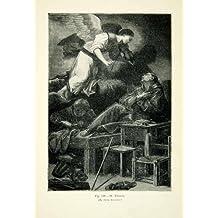 1886 Wood Engraving Carlo Saraceni Art Baroque Vision Saint Francis Angel Violin - Original Wood Engraving