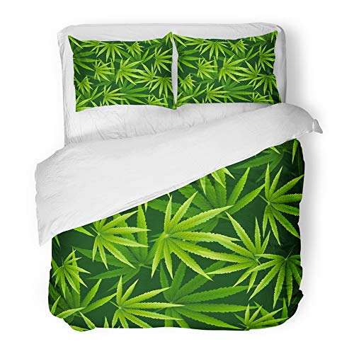 Emvency Decor Duvet Cover Set Full/Queen Size Marijuana Leaves Pattern Cannabis Plant Green Dense Vegetation of Ganja 3 Piece Brushed Microfiber Fabric Print Bedding Set Cover]()