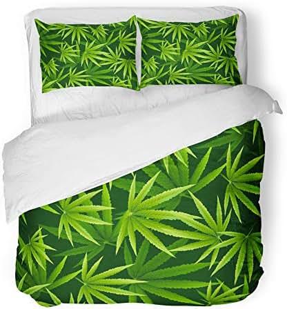 Emvency Decor Duvet Cover Set Full/Queen Size Marijuana Leaves Pattern Cannabis Plant Green Dense Vegetation of Ganja 3 Piece Brushed Microfiber Fabric Print Bedding Set Cover