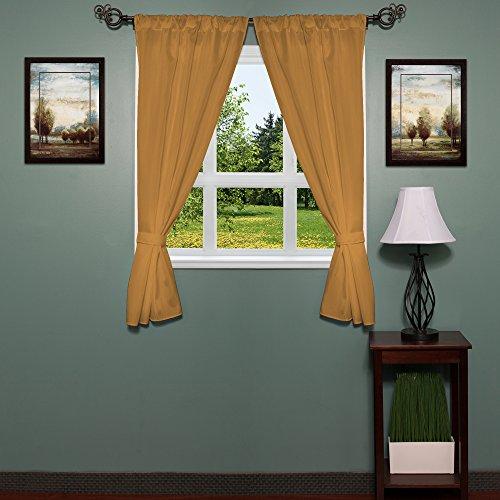 Fabric Bathroom Window Curtain (Sweet Home Collection Fabric Bathroom Window Curtain Hotel Quality Set of Two Durable 36