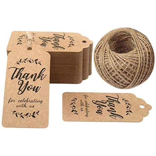 Original Design Thank You for Celebrating with Us Tags, 100PCS Paper Gift Tags with 100 Feet Natural Jute Twine Perfect for Wedding,Baby Shower and Party Decoration (Brown)