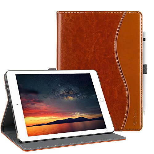 New 6th Generation iPad Case Leather Smart 5th Generation iPad Case Folio Cover Anti-Slip Stripe Card Holder Pocket Smart Auto Wake and Sleep for New iPad 9.7 inch 6th/5th Generation Elegant Brown
