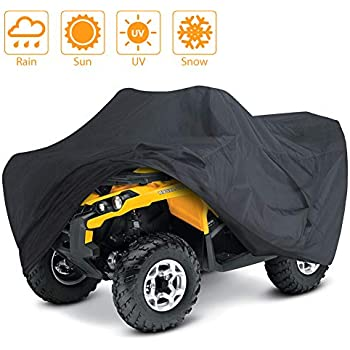 LotFancy All Weather Waterproof ATV Cover, Heavy Duty Black Protects 4 Wheelers Durable Universal Wind-Proof UV Outdoor Protection from Sun Snow Rain (L 86x47x39 inches)