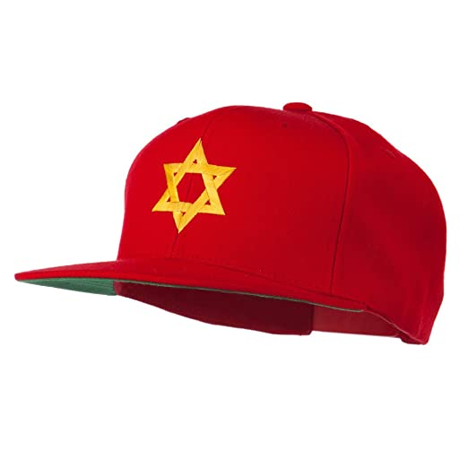 b44d1c2342ca0 E4hats Jewish Star Embroidered Prostyle Snapback Cap - Red OSFM at ...