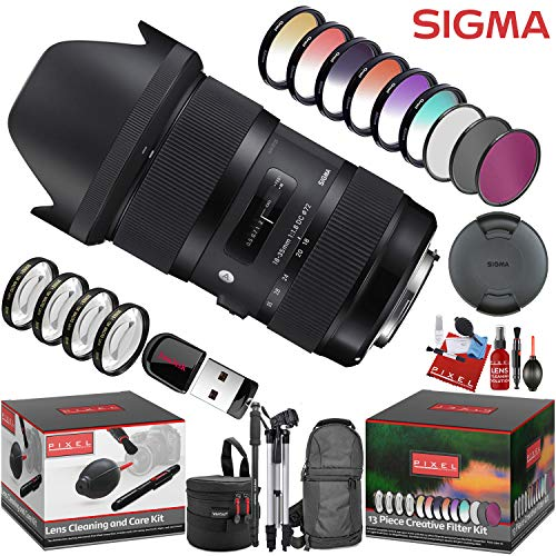 Sigma 18-35mm f/1.8 DC HSM Art Lens for Nikon F with 13 Piece Creative Filter Kit and a Heavy Duty Extra Padded Lens Case