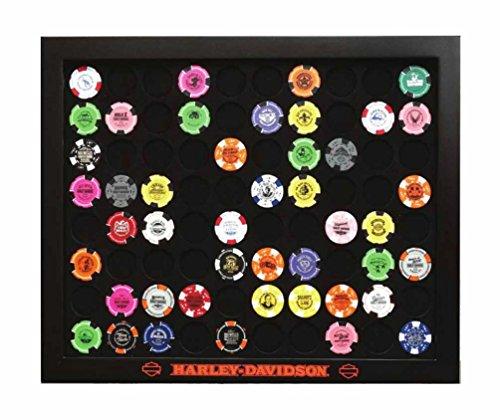 Harley-Davidson Black Poker Chip Collector's Frame, Holds 80 Poker Chips 6980 by Harley-Davidson