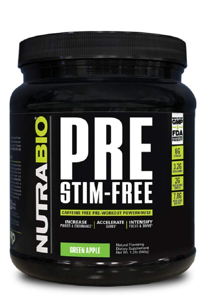 NutraBio PRE Stim Free - Caffeine Free Pre Workout (Green Apple) by NutraBio Labs, Inc. (Image #1)