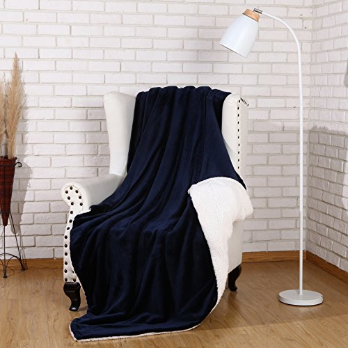 Sherpa Throw Blanket Luxury Navy Blue Size 50x60 Inches Reve