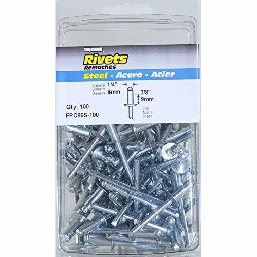Medium Steel Rivet (Surebonder FPC86S-100 1/4-inch Steel Medium Rivets (100 per box))