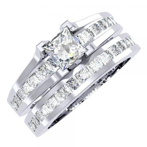 2.00 Carat (ctw) 14K White Gold Princess Cut Diamond Bridal Engagement Ring With Matching Band Set 2 CT