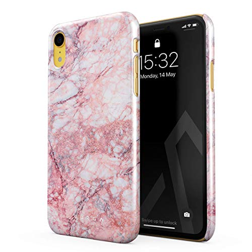 BURGA Phone Case Compatible with iPhone XR Case Soft Coral Light Pink Tropical Marble Thin Design Durable Hard Shell Plastic Protective Case ()
