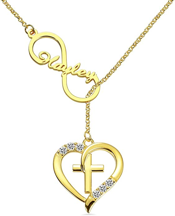 Infinity Heart Necklace 14k White Gold Finish Personalized Name Unique Gifts Store Happy Birthday Tonia