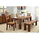 Cheap Furniture of America IDF-3603T-6PC Barkin Dining Table, Dark Oak